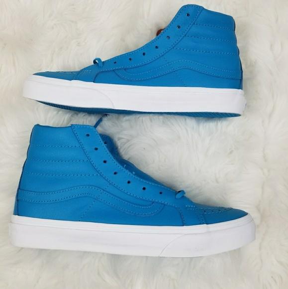 fff6a00dcfe5be Vans Sk8-hi Slim Neon Blue Leather Shoes